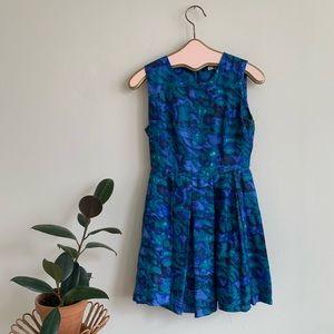 BB Dakota 100% Silk Watercolor Print Pleated Dress